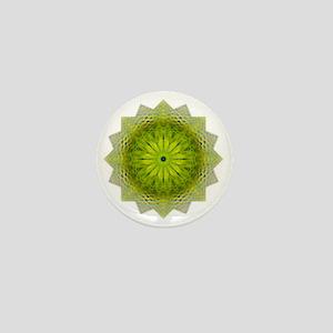 Green Flower Heart Chakra Mandala Yoga Mini Button
