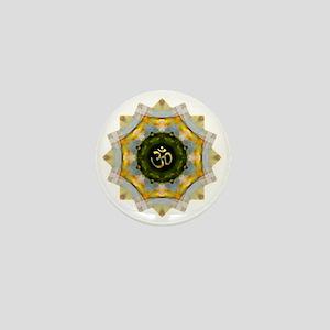Gold Green Yoga Om Mandala Shirt Mini Button