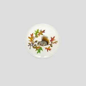 Squirrel Oak Acorns Mini Button