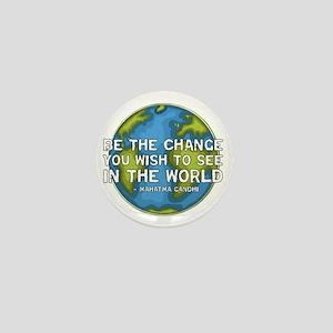 gandhi_earth_bethechange_dark Mini Button