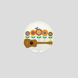 Ukulele Flowers Mini Button