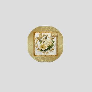 Floral Gold 50th Wedding Anniversary Mini Button