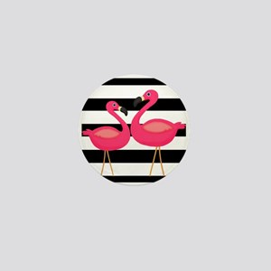 Pink Flamingoes Black Stripes Mini Button