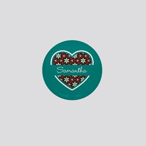 Personalized Teal Heart Pattern Mini Button