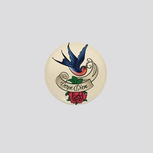 carpe diem bluebird tattoo style Mini Button