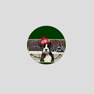 Green Christmas boxer dog Mini Button