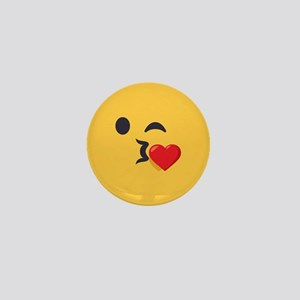 Winky Kiss Emoji Face Mini Button