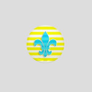 Blue Yellow White Stripe Fleur De Lis Mini Button