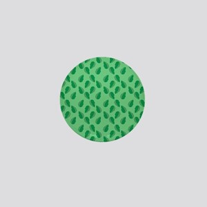 Green Jungle Leaves Pattern over Green Mini Button