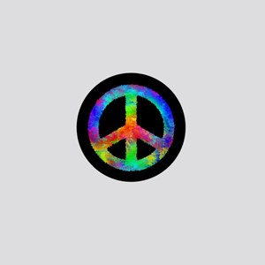 Abstract Rainbow Peace Sign Mini Button