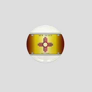 New Mexico Flag License Plate Mini Button