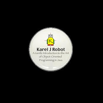 Karel J Robot Mini Button Karel J Robot Logo Gear Karel J Robot