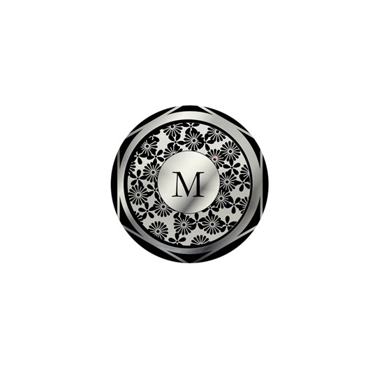 Ornate patterned monogram silver and black print
