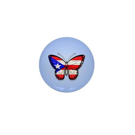 Puerto Rican Flag Butterfly on Blue
