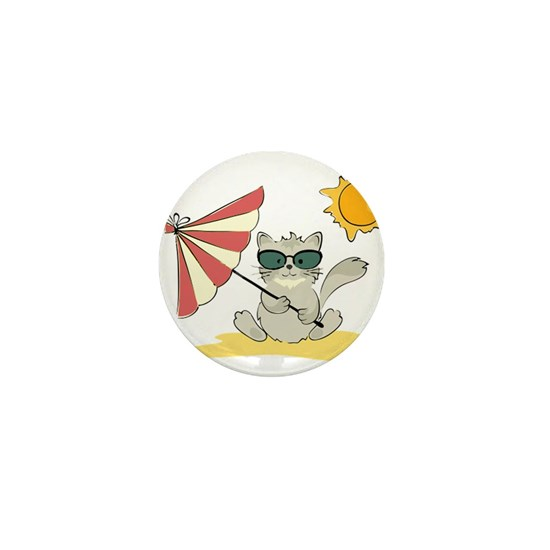Cool Beach Cat with Umbrella and Sunglasses