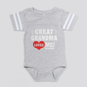 Great Grandma Loves Me Baby Football Bodysuit