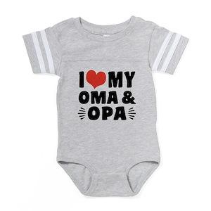 I Heart Oma Opa Baby Football Bodysuits - CafePress