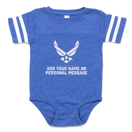 PERSONALIZED USAF Logo Baby Football Bodysuit
