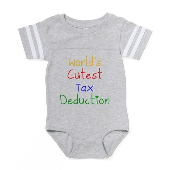 3018a45ce1610 Worlds Cutest Tax Deduction Baby Football Bodysuit