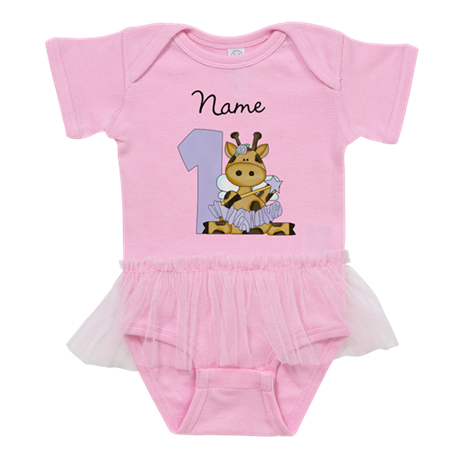 Personalized Giraffe Fairy 1 Baby Tutu Bodysuit