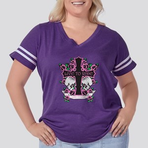 Roses  Skulls-Pink- Live to Ride Women's Plus Size