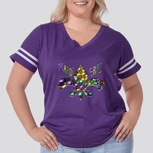 Mardi Gras Fleu Women's Plus Size Football T-Shirt