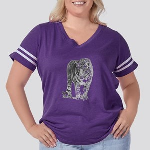 Bengal Tiger Sketch Women's Plus Size Football T-S