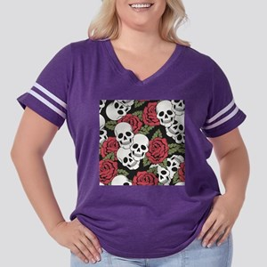 Skulls and Roses Women's Plus Size Football T-Shir