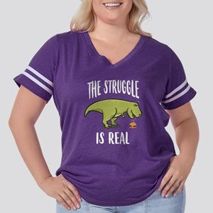 Funny T-Rex Din Women's Plus Size Football T-Shirt