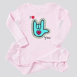 Aqua Bold I-Love-You Baby Pajamas