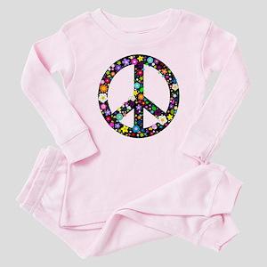f28d0e1c89b6 Hippie Flowery Peace Sign Baby Pajamas