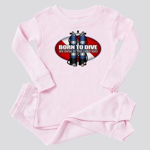 Born To Dive (ST) Baby Pajamas
