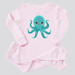 Cute Blue Octopus Baby Pajamas