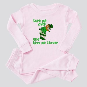 Kiss Me Clover Funny Irish Baby Pajamas
