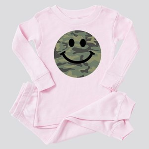 Green Camo Smiley Face Baby Pajamas