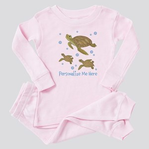 Personalized Sea Turtle Baby Pink Pajamas