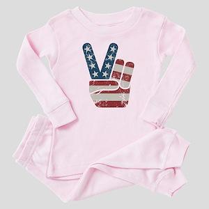 Peace Sign USA Vintage Baby Pajamas
