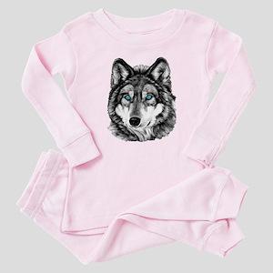Painted Wolf Grayscale Baby Pajamas