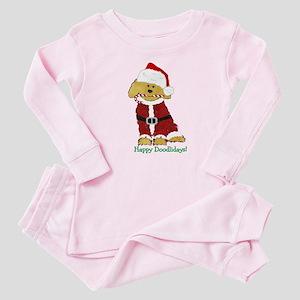 Cute Goldendoodle Santa Baby Pink Pajamas
