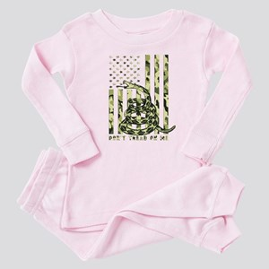 Don't Tread on Me Camo American Flag Baby Pajamas