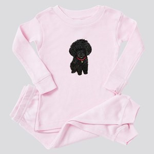 Poodle pup (blk) Baby Pajamas