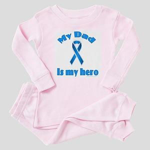 Dad is my hero (blue ribbon) Baby Pajamas