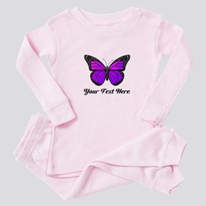 Purple Butterfly Custom Text Baby Pajamas