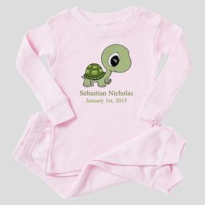 CUSTOM Green Baby Turtle w/Name and Date Baby Paja