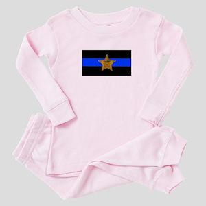 Sheriff Thin Blue Line Baby Pajamas