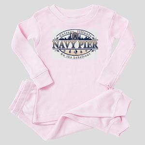 Navy Pier Oval Stylized Skyline design Baby Pajama