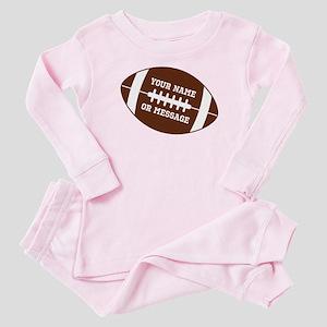 YOUR NAME Football Baby Pajamas