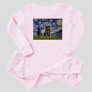 Starry Night / Black Pug Baby Pajamas