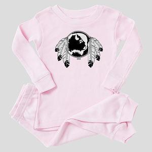 Metis Spirit Buffalo Native Art Baby Pink Pajamas
