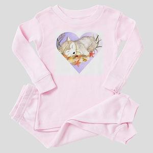 love wolves sleeping Baby Pajamas